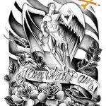 Engel mit Rosen Tattoomotiv