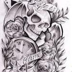 Gambler Tattoosleve Skull ,Uhr, Totenkopf