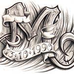 Glyph M Steinform mit Banner