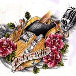Guitarre mit Rosen Tattoo