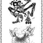 Tattoomotiv Frau, Blume, Skelet, lotus