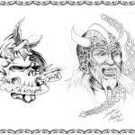 Tattoovorlage Skull Viking, Wikinger, knoten