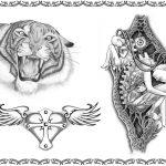 Tattoomotiv Tiger, herz mit Flügel, Biomech