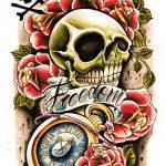 Newschool Skull mit Uhr und Rosen