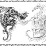 Tattooflash, blackdragon vs whitedragon, gut,böse