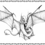 Tattoomotiv, Drachenschlange mit Flügel, offen, black white