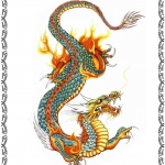 Tattooflash, Asian Dragon, flames,clouds