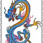 Tattooflash, Drache, blau,Asian Dragon, s-form