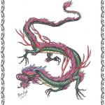 Tattooflash, Drache, bunt,Asian Dragon, flames,clouds