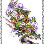 Tattoomotiv,Asiatischer Drache, sterne,flammen