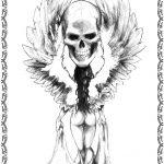 Tattoovorlagen Engel mit Totenkof