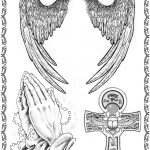 Tattoovorlage Fluegel, ankh, betende Haende