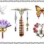 Tattoovorlage Feder,schmetterling,taube,skorpion