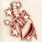 Tattooflash Herz mit Dolch sterne