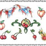 Tattoovorlage US Flagge, Kirschen, Feuer, Herzen