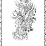 Tattoomotiv, Koi Fisch,jump, schwarz weiss, lilie,lotus