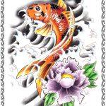Tattoomotiv, Koi Fisch, gold,wasser, lilie,