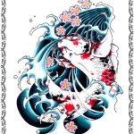 Tattoomotiv, Koi Fisch,jump, rot weiss, kirschblüten