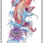 Tattoomotiv, Koi Fisch,jump, rot,wasser, blumen, kopf runter