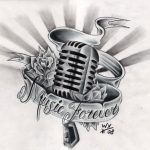 Tattooflash Mikrofon mit Banner