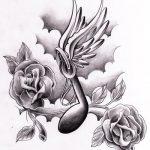 Musik Note mit Flügel und Rosen