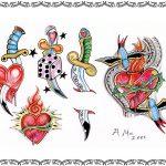 Tattoovorlage Dagger, Dolch mit herz, würfel,oldschool
