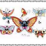 Tattoovorlage butterfly, schmetterling, skull,oldschool