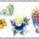 Tattoomotiv, blumen, lilie, drachen, lustig