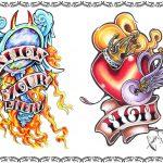 Tattoomotiv, oldschool,spiegel,flammen,schwalbe,banner