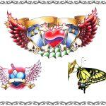 Tattoomotiv, fluegel,sarg,banner,herz, dolch, schmetterling
