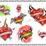 Tattoovorlagen, herzen mit banner und pfeil, amor,flammen