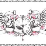 Tattoovorlagen, Uhr mit banner und fluegel,spinnennetz,sense