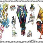 Tattoovorlagen, woman, engel,goth,teufelin,punk