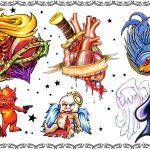 Tattoovorlage, tattooflash, spades,glory heart,oldschool, newschool