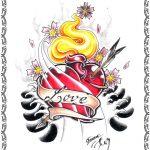 Tattoomotiv, glory heart, pfeil,banner,flammen