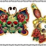 Tattoomotiv, skullbutterfly, skull,,dolch,dagger