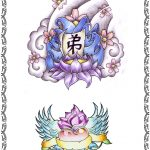 Tattoomotiv, asia,lotus,wolken,herz,fluegel