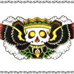 Brusttattoo,skull fluegel,krone,wolken