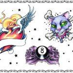 Tattoovorlage, eightball,cat,roses,glory heart,oldschool, newschool