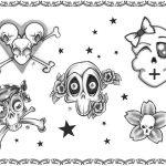 Tattoovorlage, skulls,black n White newschool