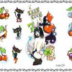 Tattoovorlage, lucky seven, kirschen, würfel, dices, cherry,newschool