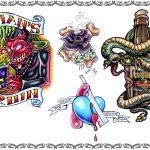 Tattoovorlage, Newschool,devil,schlange,teufel,mans ruin,knochen