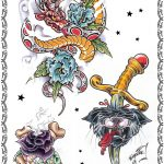 Tattoovorlage, Newschool,devil,blumen,schlange,knochen,panther