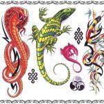 Tattoovorlagen Leguan und Schlangen