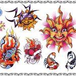 Tattoovorlage Sonnen, Skorpion,delphin
